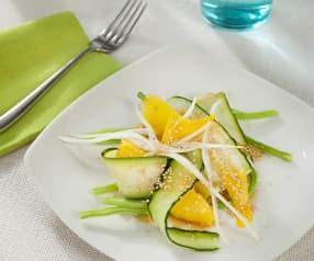 Ensalada de frutas y verduras al vapor con vinagreta de naranja