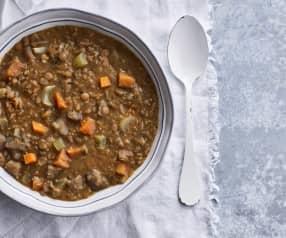 Sopa de lentilhas e abóbora