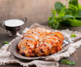 Kurczak w harissie i szybki sos jogurtowo-miętowy