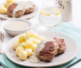 Hreczanyki z sosem koperkowo-chrzanowym i ziemniakami