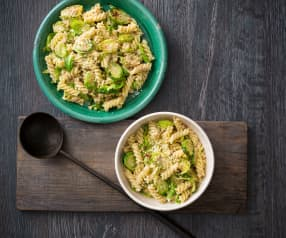 Brussels sprouts pasta with hazelnut dressing
