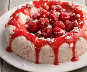 Mražený šlehačkový dort s malinami
