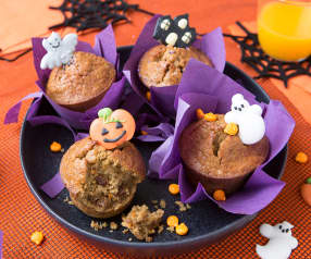 Muffins de calabaza y manzana con copos de avena