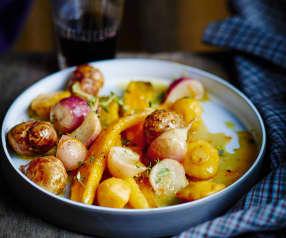 Cocotte de légumes anciens glacés au miel