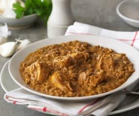Lentejas al curry con pollo