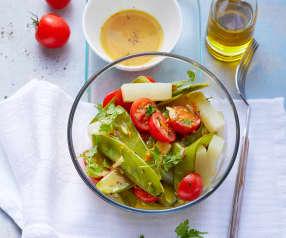 Salade de chou-rave et pois gourmands