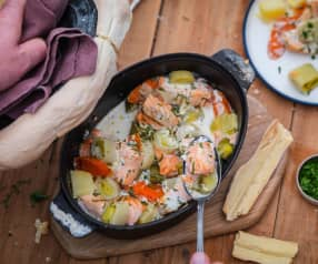 Cocotte de saumon aux petits légumes