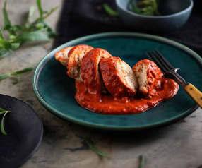 Balotina de pollo en salsa de pimiento rojo Al vacío