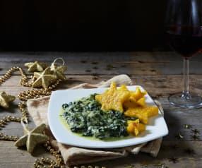 Stelle di polenta con spinaci filanti