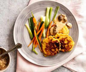 Maistätschli mit Morchelrahmsauce und Frühlingsgemüse