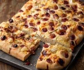 Grape, Brie and Rosemary Flatbread