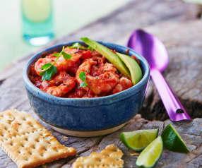 Chłodnik pomidorowy z kolendrą i krewetkami po meksykańsku
