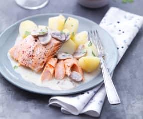 Saumon et pommes de terre sauce aux champignons