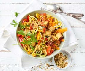Zucchinibowl mit Tofu