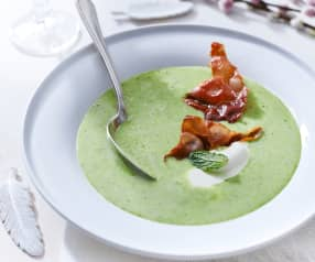 Creamy Pea Soup with Serrano Chips