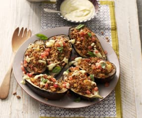 Stuffed Aubergine with Saffron Yoghurt and Pomegranate Seeds