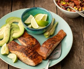 Blackened Salmon with Bean and Corn Salsa