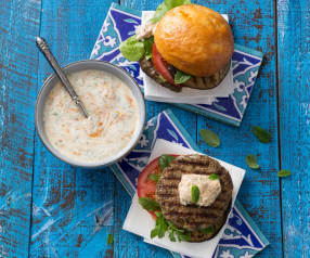 Moroccan lamb burgers with harissa yoghurt dressing