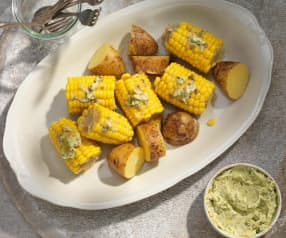 Kukuruz mit Zitronen-Kapern-Butter und Erdäpfeln