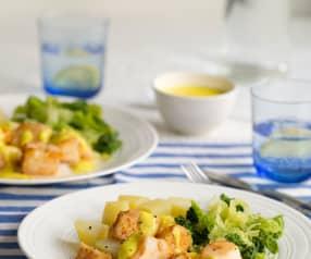 Merluzzo al vapore con patate, verza e salsa agli agrumi