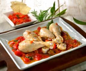 Poulet auf roten Peperoni