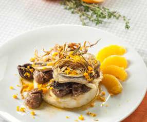 Estofado de cordero marinado con naranja, miel y tomillo