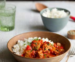Vepřové stew na rajčatech s rýží basmati