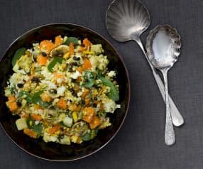 Salade van bloemkool, zoete aardappel en noten