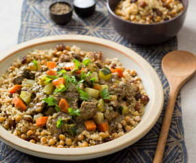 Moroccan Beef Stew with Israeli Couscous