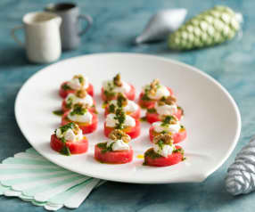 Watermelon Canapés with Whipped Feta and Walnuts