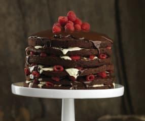 Bolo de chocolate e framboesa