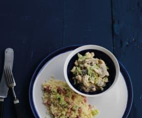 Frango cremoso com feijão verde e cuscuz