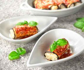 Eggplant involtini with risotto