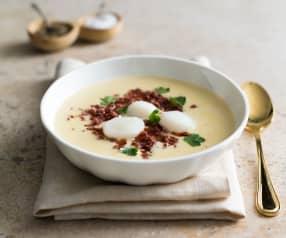 Creamy scallop soup with chorizo