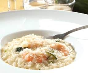 Risotto with zucchini and prawns