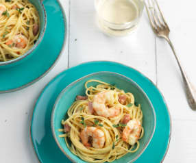 Linguini with Bacon and Prawns