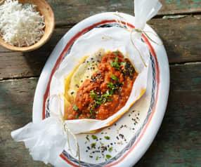 Steinbutt-Curry-Schiffchen mit Basmatireis (Indien)