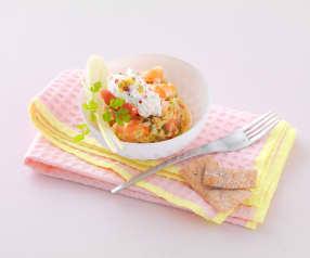 Tartare de crevettes et fenouil aux agrumes, crème de ricotta Passion et baies roses