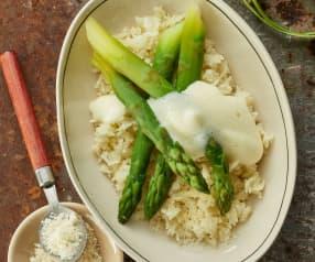 Asperges, Parmezaanse kaas, rijst en citroensabayon