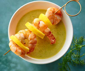 Cucumber Soup with Prawn Skewers