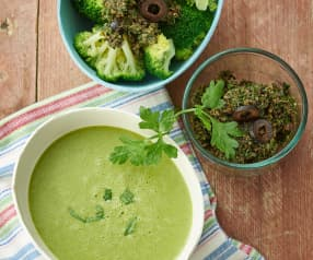 Creamed Lettuce Soup, Broccoli with Black Olive Sauce