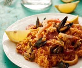 Mediterranean seafood rice with chorizo