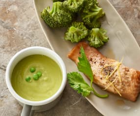 Pea and Ginger Soup, Lemon Salmon with Broccoli