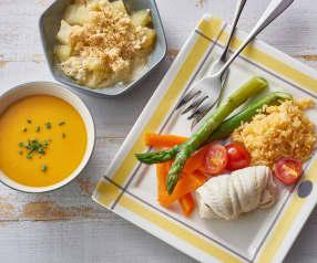 Velouté de butternut, poisson et riz aux légumes, crumble pomme-poire