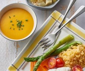 Kürbissuppe, Fisch mit Reis und Gemüse, Apfel-Birnen-Crumble