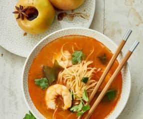 Bouillon de crevettes façon thaï, pommes vapeur aux épices
