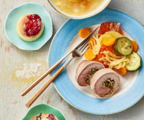 Minestrone, rollè di maiale con verdure, tortini ai lamponi e muffin