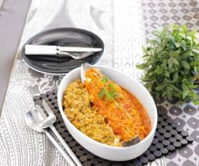 Açorda de tomate e ovas com peixe assado