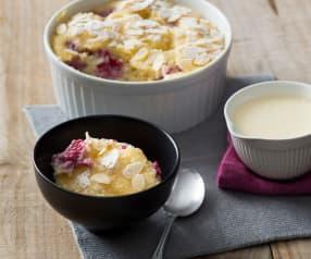 White chocolate and raspberry self-saucing pudding