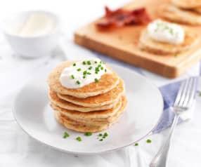 Pancakes al bacon e porri